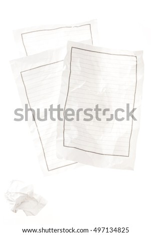 empty(blank) letter sheet(paper, score) with wrinkled(crumple, crease, crush) paper isolated white.