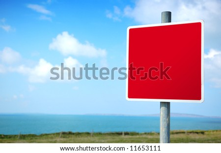 Empty Blank Red Road Sign - stock photo