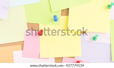 Empty blank sticky notes on notice board in office. Background for business information. Concept image of communication or reminder with copy space.  - stock photo