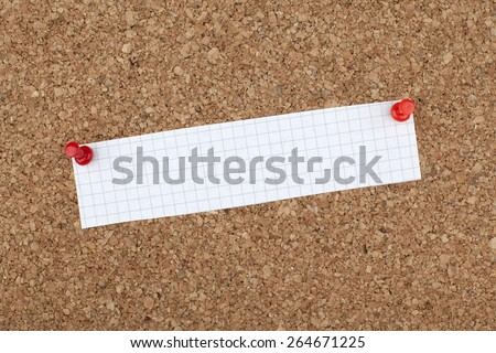 Empty Blank Thin Note Paper Pinned on Cork Bulletin Board - stock photo