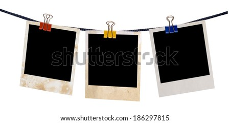 empty blanks on rope isolated on white