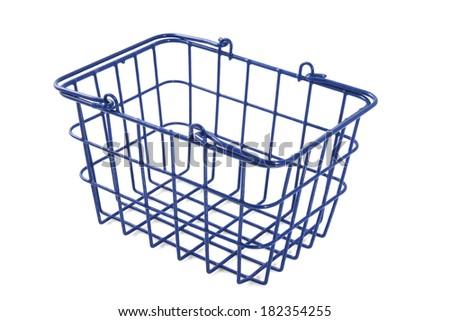 Empty blue basket isolated over white - stock photo