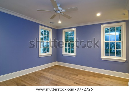 empty blue bedroom, place your own furniture - stock photo