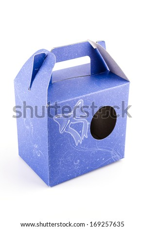 Empty blue box isolated on white background