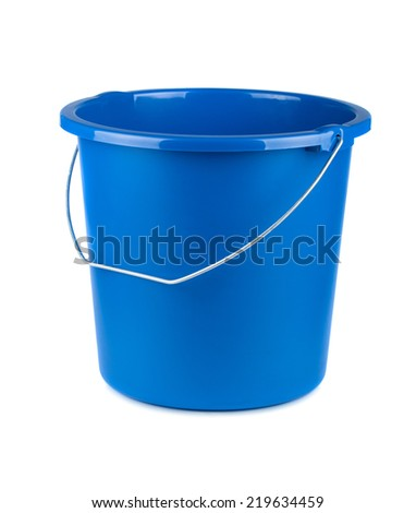 Empty blue bucket isolated on a white background