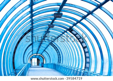 Empty blue corridor - stock photo