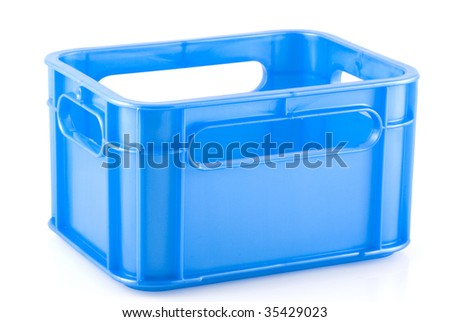 Empty blue crate, isolated on white. - stock photo