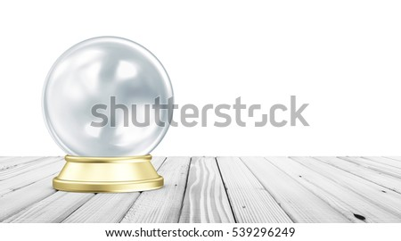 Empty Blue Crystal Ball with Golden Stand on White Wooden Table with place for Your Text. 3D Rendering