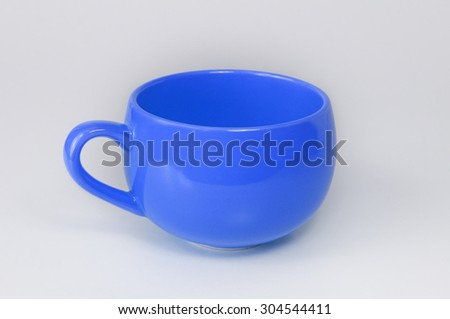 Empty Blue Cup isolated on white background