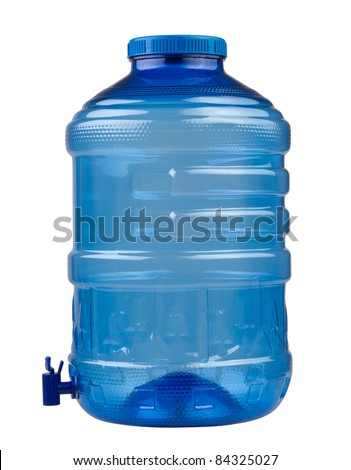 Empty blue drinking water container isolated on white  - stock photo