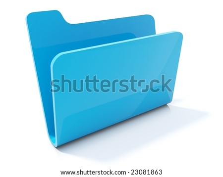 Empty blue folder icon isolated on white - stock photo