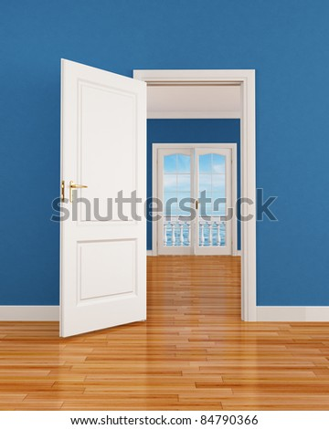 empty blue interior with open door and window-rendering-the image on background is a my render composition - stock photo