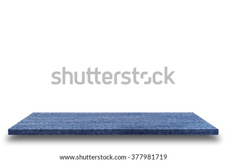 Empty blue jeans texture table or blue jean shelf wall isolated on white background, For present your products. - stock photo