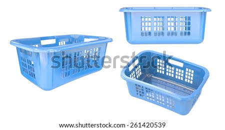 Empty Blue Laundry Basket set isolate on white background. Easy editable for your design.