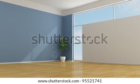 Empty blue living room with parquet - rendering - stock photo