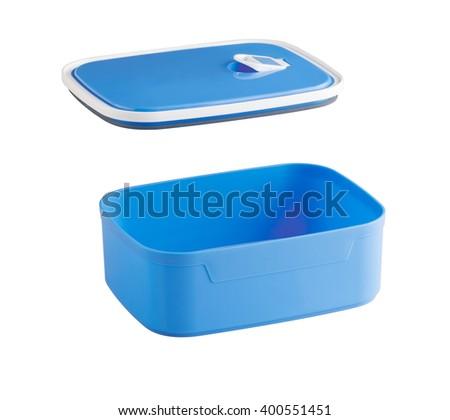 empty blue plastic food box isolated on white background - stock photo
