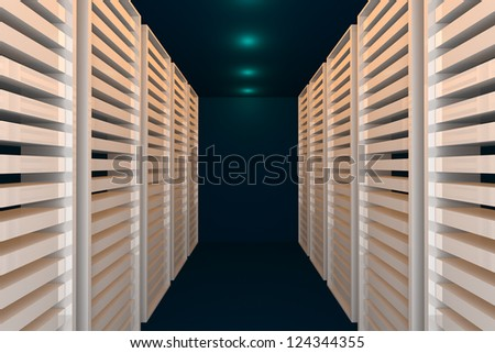 Empty blue room for modern interior of server room in datacenter - stock photo