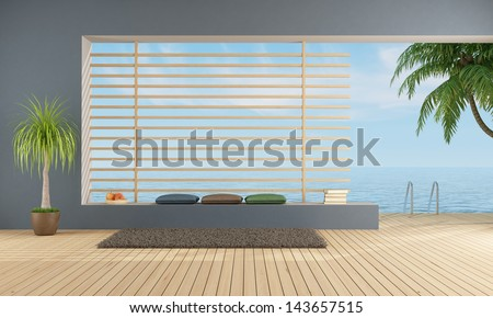 empty  blue room of a holiday villa with sea access - rendering