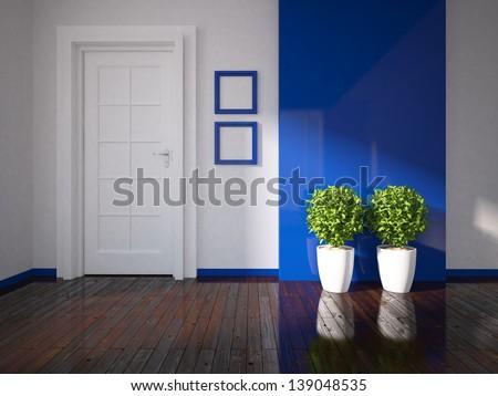 empty blue room with white door - stock photo