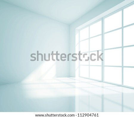 empty blue room with white window - stock photo
