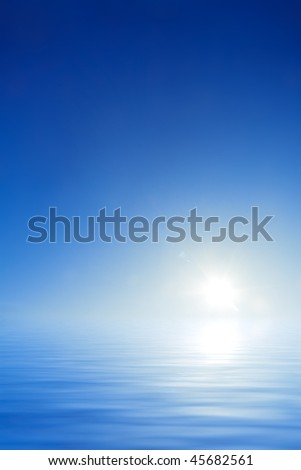 Empty blue sky and water background with white sun