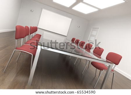 Empty board room or class room with large screen for your content. 3D render.