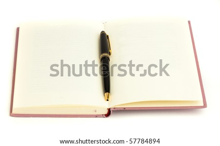 empty book and pen - stock photo
