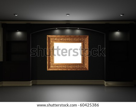 Empty bookcase with illuminated frame on the wall - stock photo