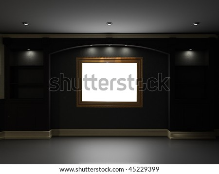 Empty bookcase with picture frame on the wall - stock photo