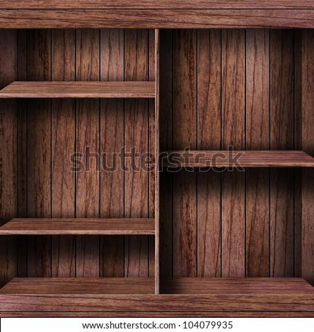 Empty bookshelf. grunge industrial interior Uneven diffuse lighting version. Design component - stock photo