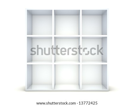 empty bookshelf on white background