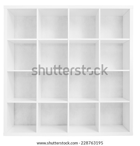 Empty bookshelf or store rack isolated - stock photo