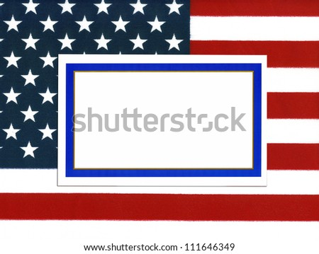 Empty bordered note card with copy space on USA flag - stock photo