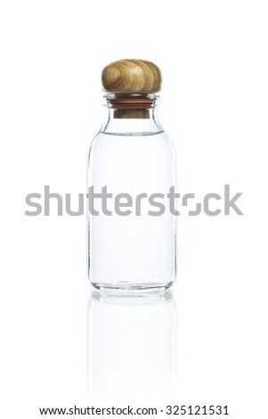 empty bottle and wood bottle cork on a white background
