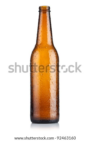 Empty bottle of beer on white background - stock photo