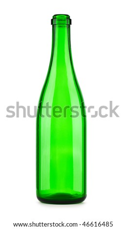 Empty bottle of champagne isolated