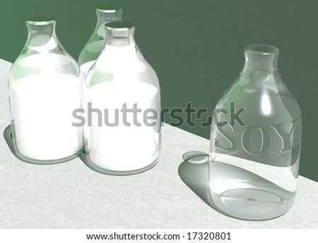 Empty Bottle of Vegan Soy Soya Milk and 3 Full Bottles with a green background - stock photo