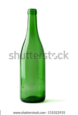 empty bottle of wine isolated on a white background, clipping path included. - stock photo