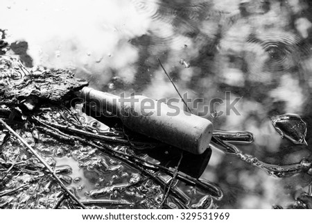 Empty bottle on the river - stock photo