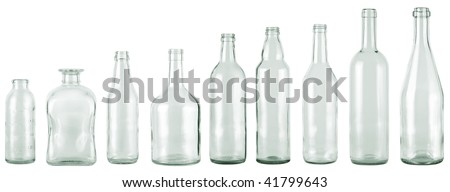 empty bottles collection, colorless, isolated - stock photo