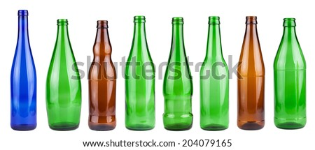 Empty bottles collection isolated on white background - stock photo