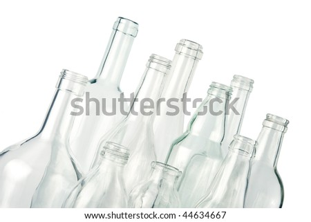 empty bottles, colorless, isolated - stock photo
