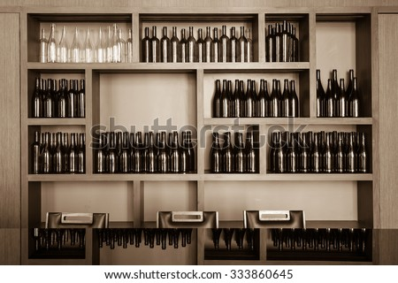 empty bottles decorative on the shelf - stock photo