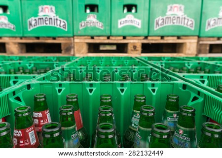 Empty bottles Kamenitza beer are seen in the Molson Coors Kamenitza brewery storage lot, April 28, 2015, near the city of Haskovo, Bulgaria. Molson Coors bought Kamenitza in 2012.