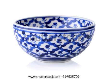 empty bowl isolated on white background - stock photo