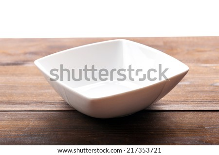empty bowl on table - stock photo