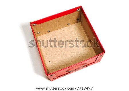 empty box from above on white background