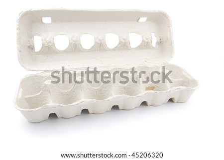 empty box of 12 eggs isolated on white background - stock photo