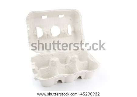 empty box of 6 eggs isolated on white background - stock photo