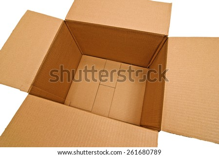Empty Box Shot On Angle And Cropped On White Background - stock photo